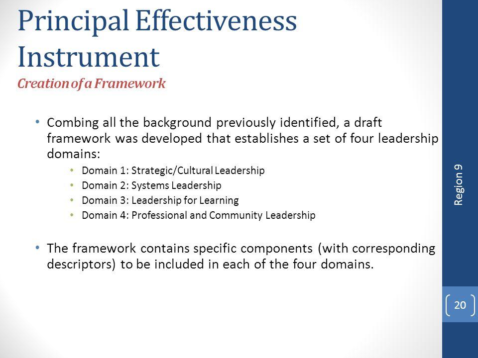 Principal Effectiveness Instrument Creation of a Framework