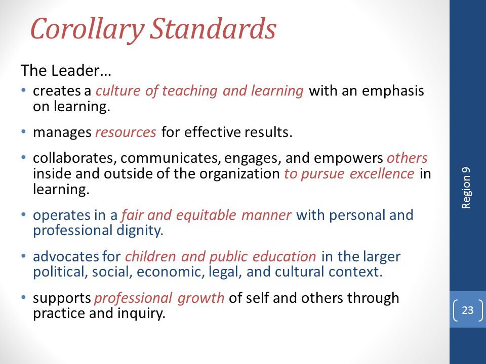 Corollary Standards The Leader…