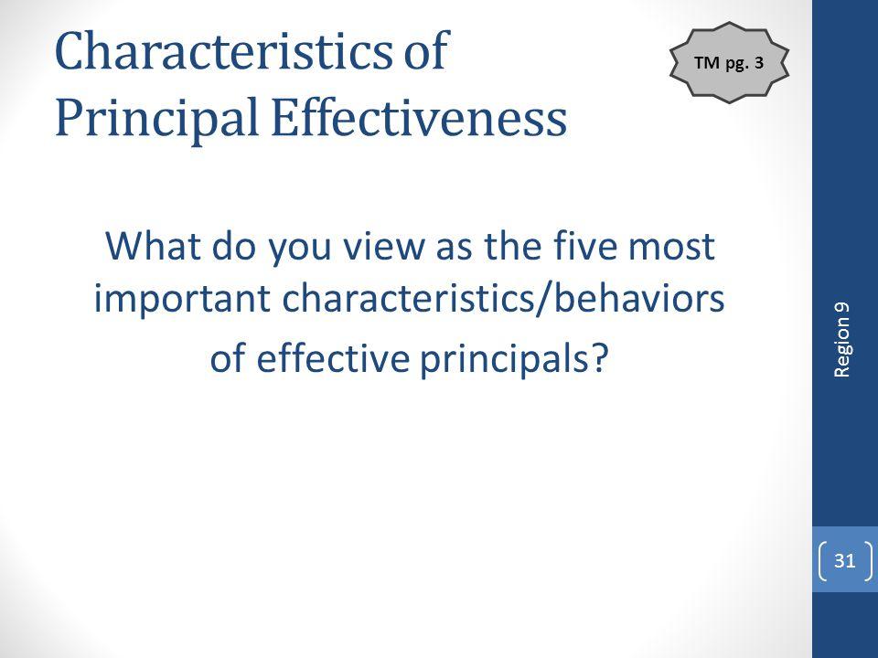 Characteristics of Principal Effectiveness