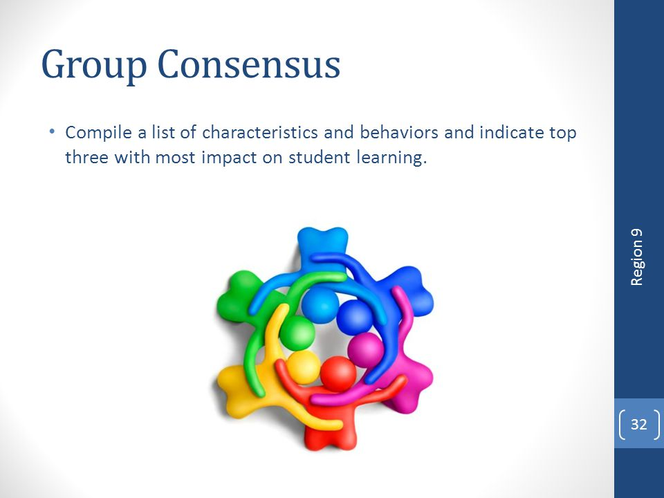 4/12/2017 Group Consensus. Compile a list of characteristics and behaviors and indicate top three with most impact on student learning.