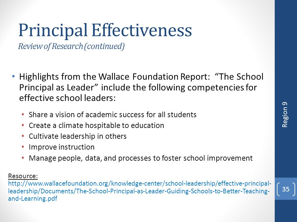 Principal Effectiveness Review of Research (continued)