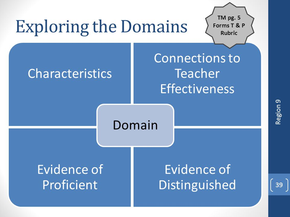 Exploring the Domains Region 9 TM pg. 5 Forms T & P Rubric 4/12/2017
