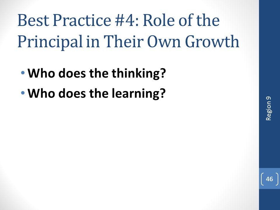 Best Practice #4: Role of the Principal in Their Own Growth