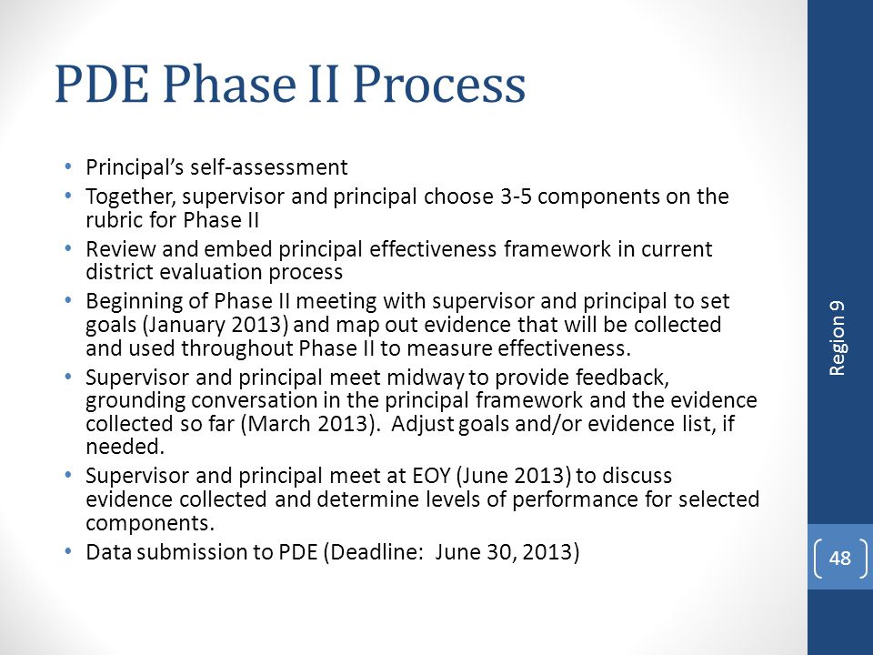 PDE Phase II Process Principal's self-assessment
