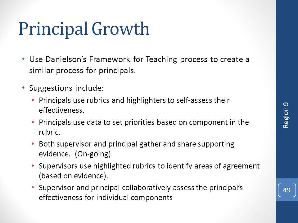 4/12/2017 Principal Growth. Use Danielson's Framework for Teaching process to create a similar process for principals.