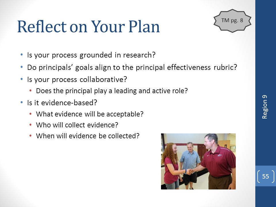 Reflect on Your Plan Is your process grounded in research