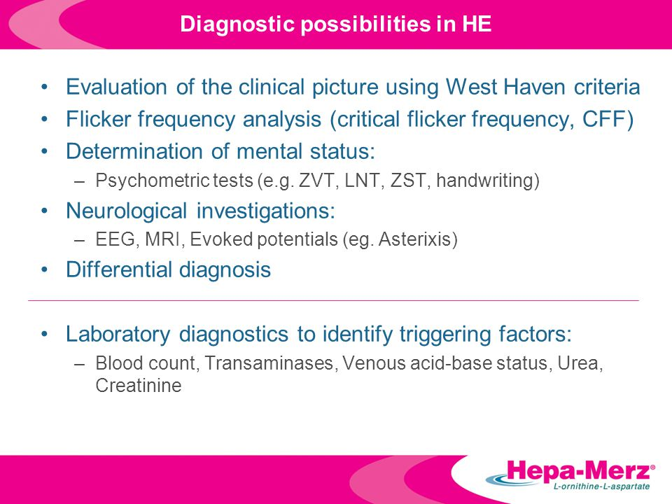 Diagnostic possibilities in HE