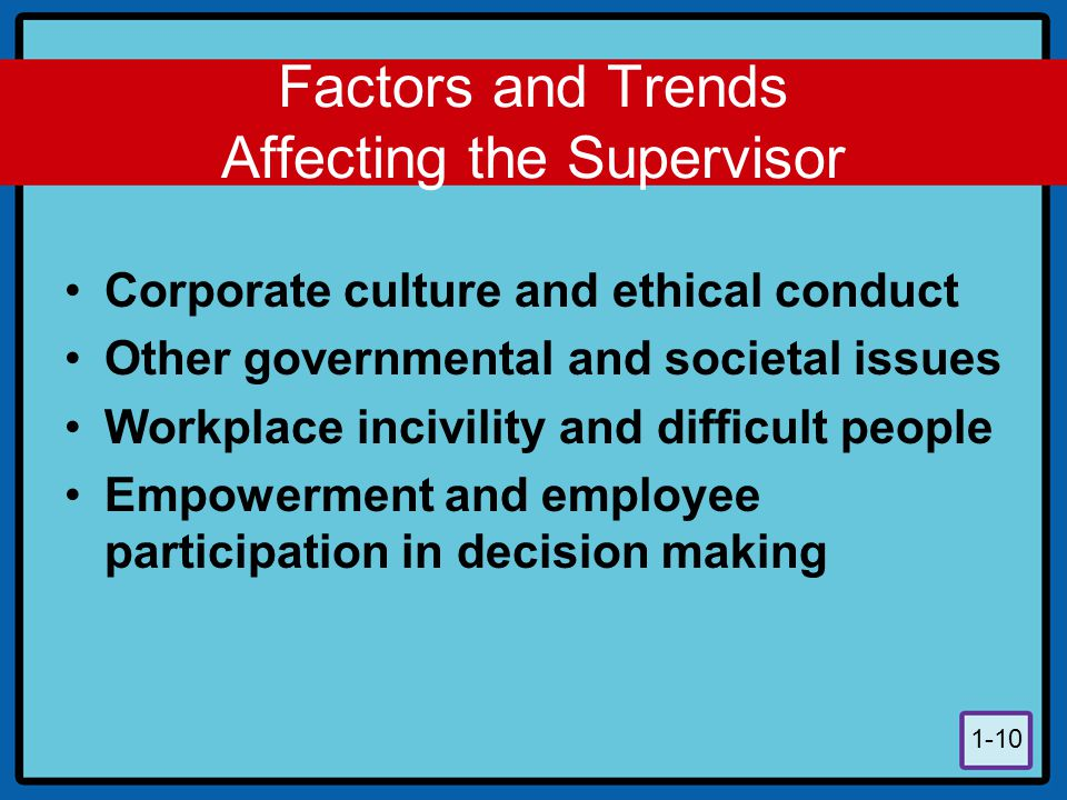 Factors and Trends Affecting the Supervisor