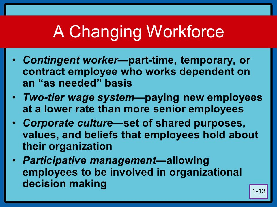 A Changing Workforce Contingent worker—part-time, temporary, or contract employee who works dependent on an as needed basis.