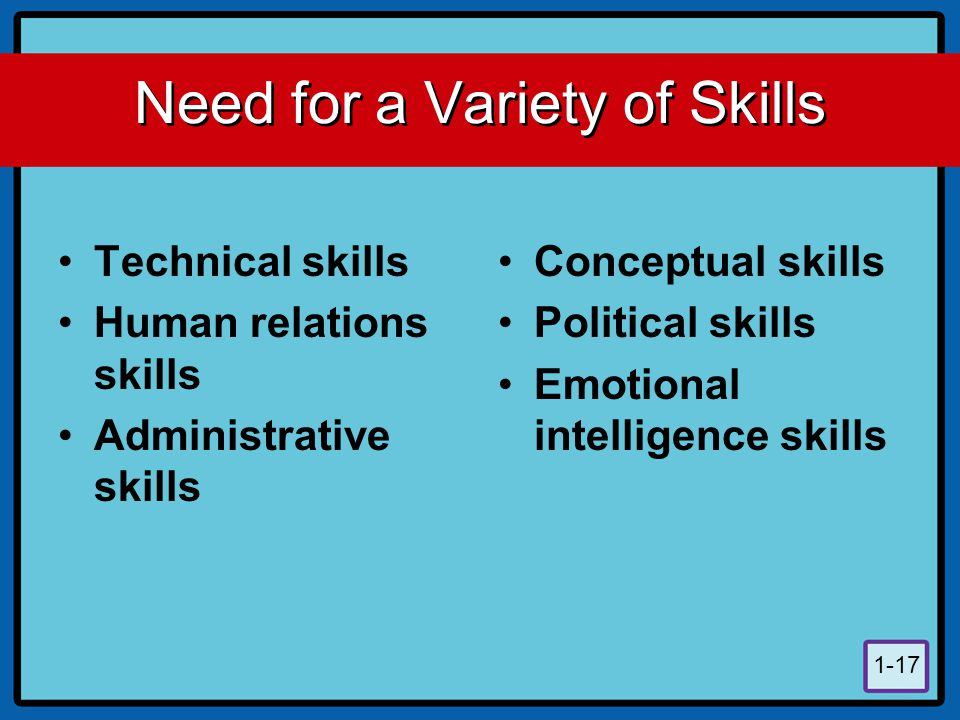 Need for a Variety of Skills