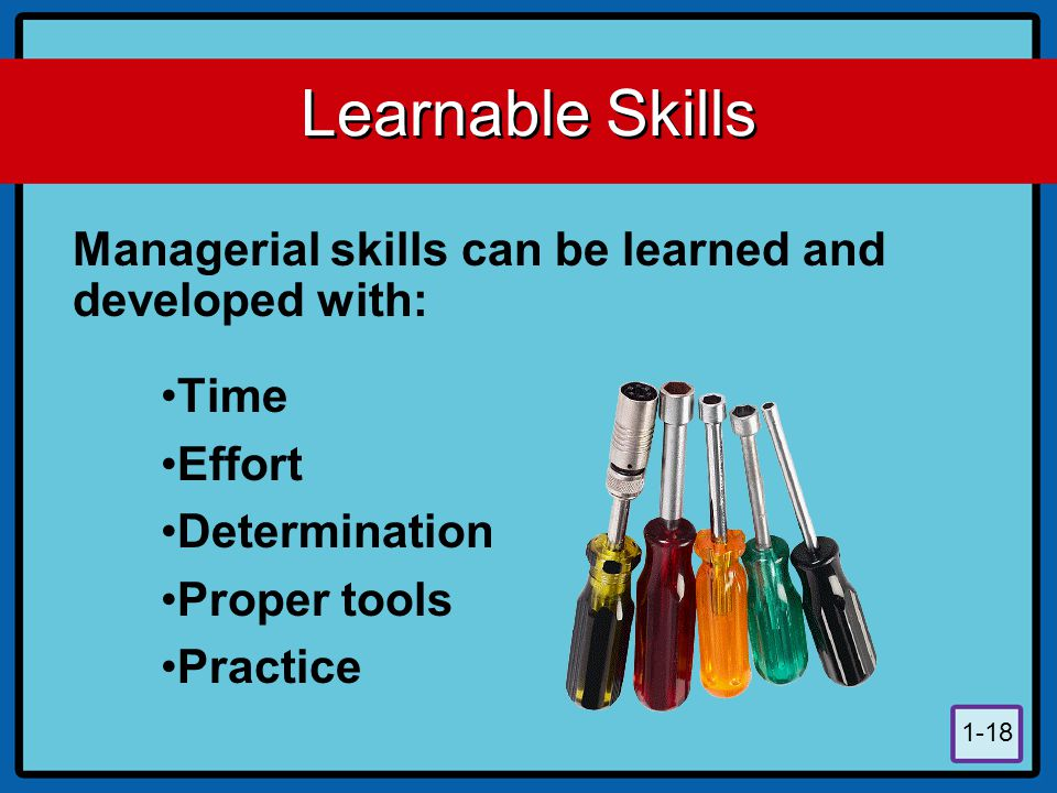 Learnable Skills Managerial skills can be learned and developed with: