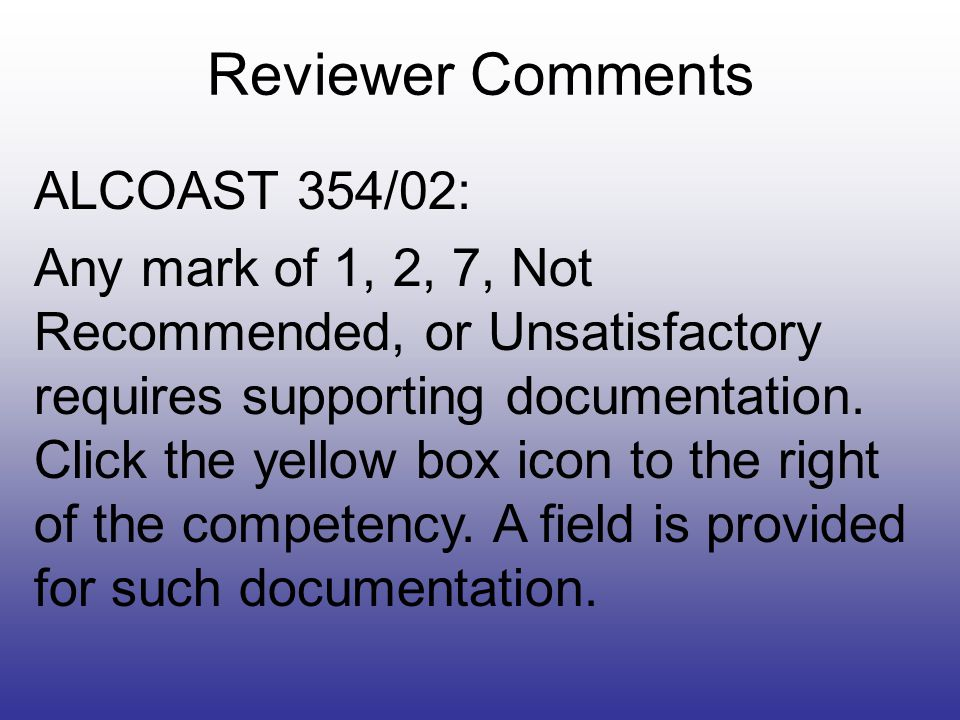 Reviewer Comments ALCOAST 354/02:
