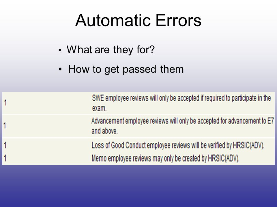 Automatic Errors What are they for How to get passed them