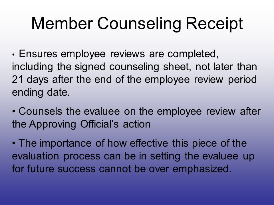 Member Counseling Receipt