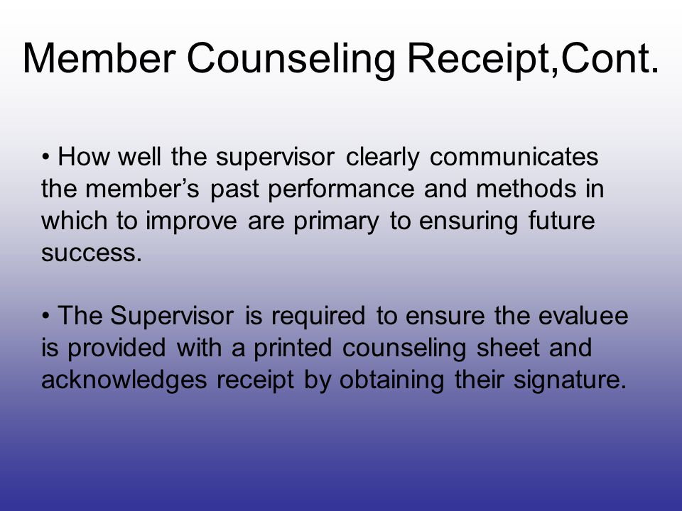 Member Counseling Receipt,Cont.