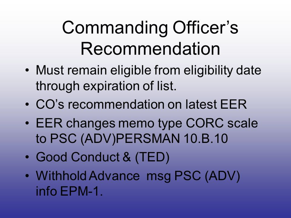 Commanding Officer's Recommendation