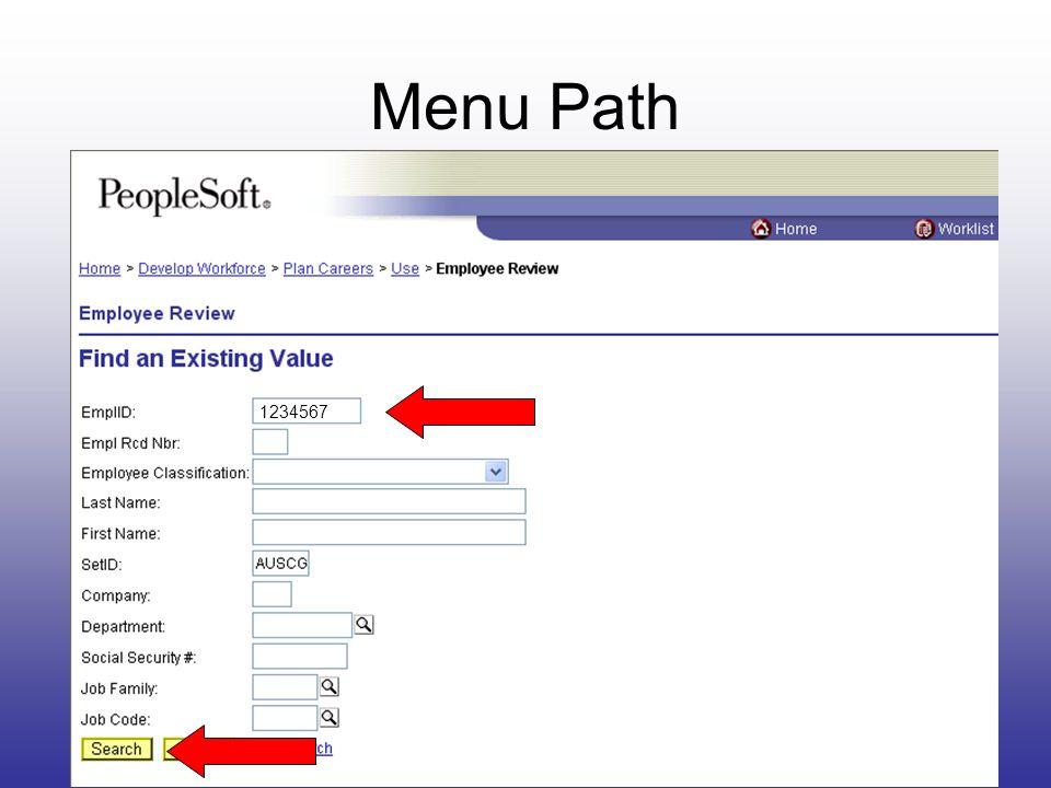 Menu Path 1234567