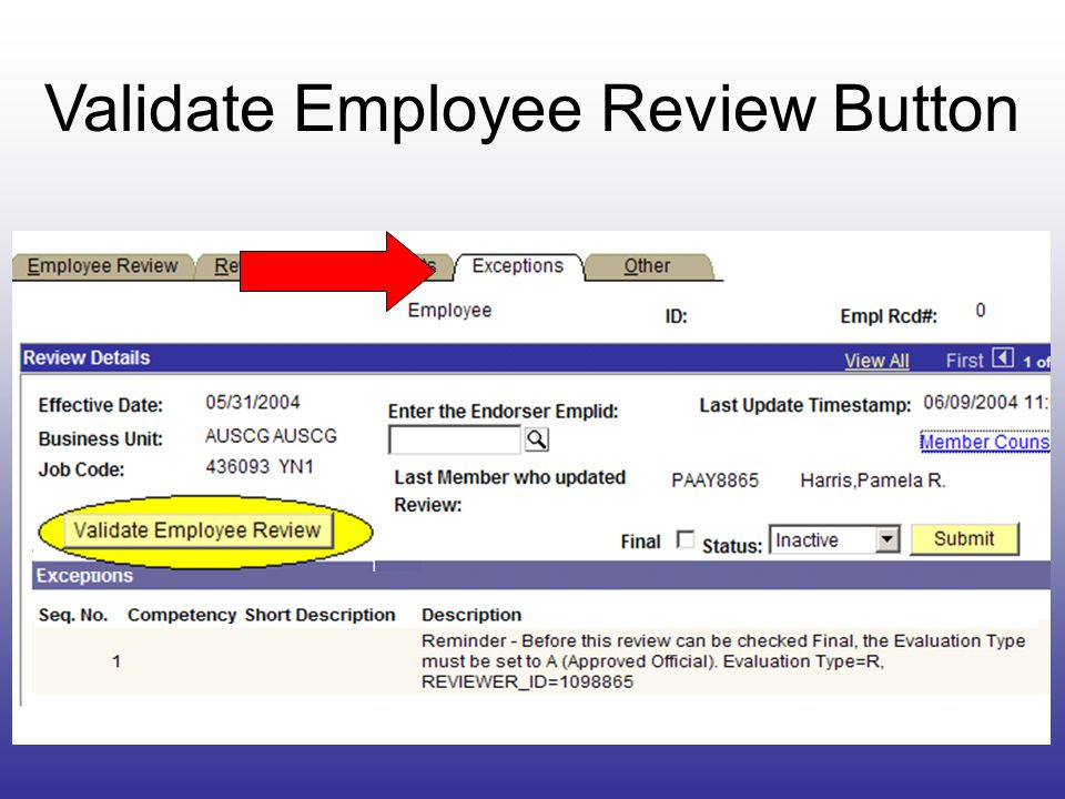 Validate Employee Review Button