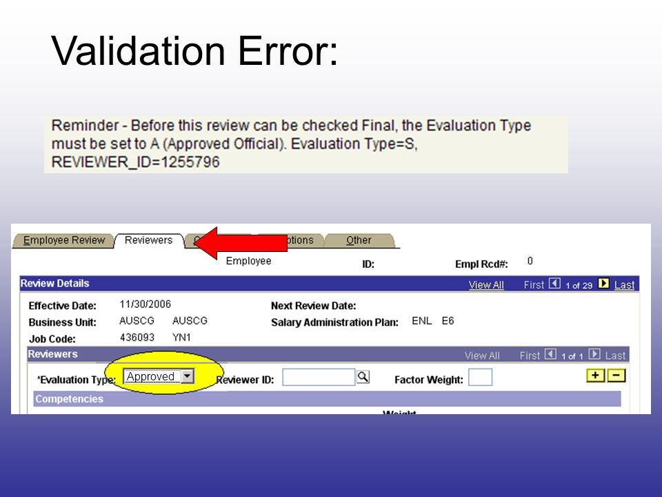 Validation Error: Approved