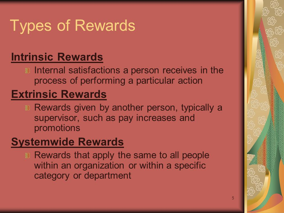 Types of Rewards Intrinsic Rewards Extrinsic Rewards
