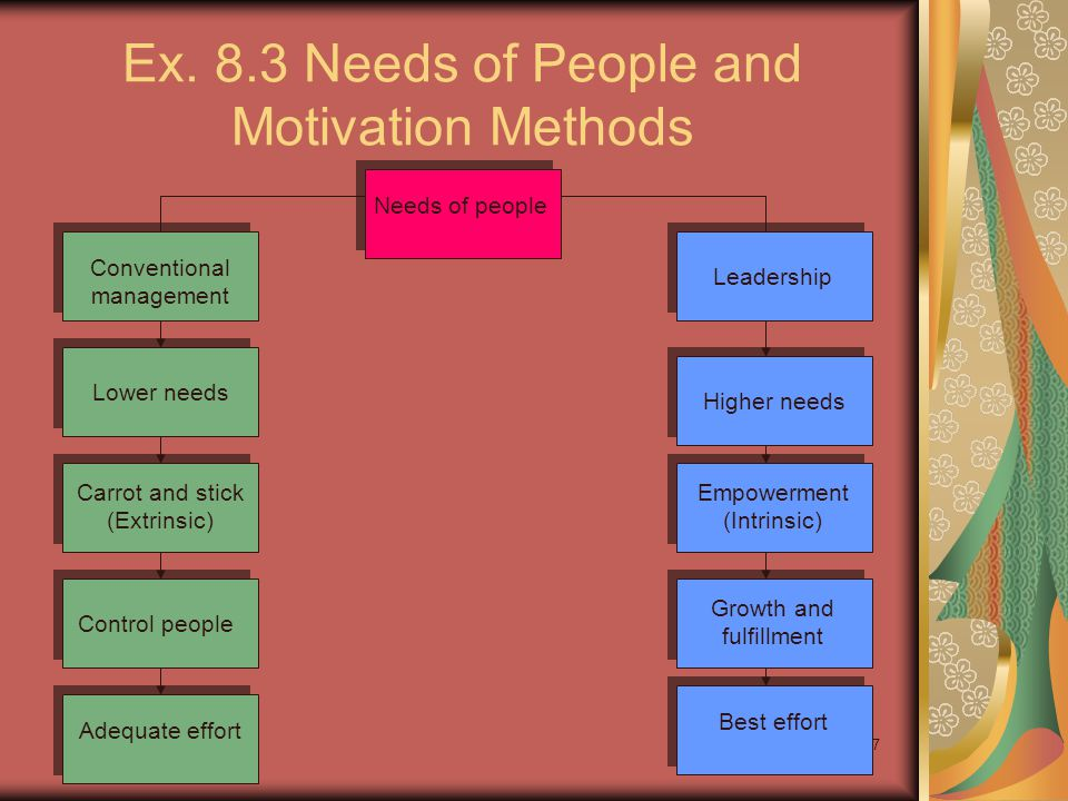 Ex. 8.3 Needs of People and Motivation Methods