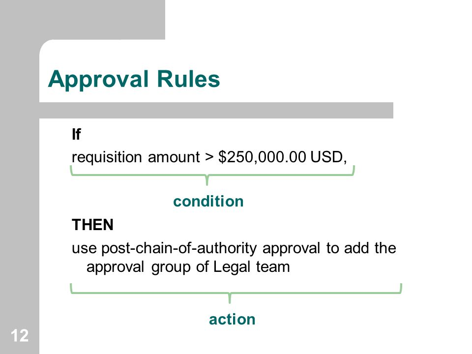 Approval Rules If requisition amount > $250,000.00 USD, THEN
