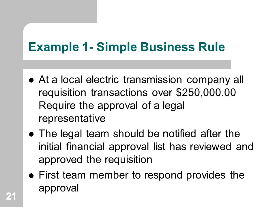 Example 1- Simple Business Rule