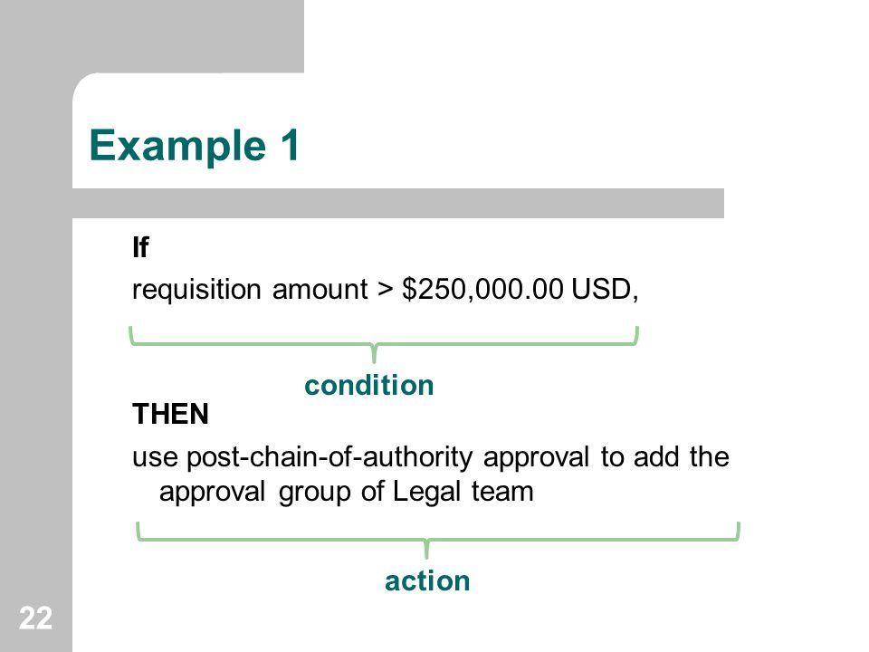 Example 1 If requisition amount > $250,000.00 USD, THEN