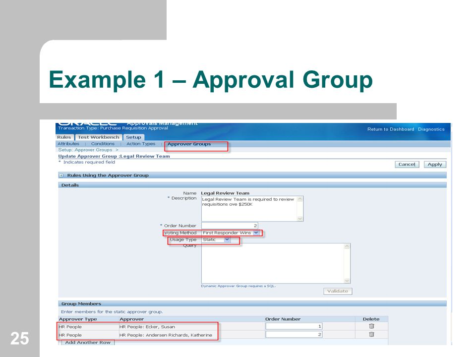 Example 1 – Approval Group