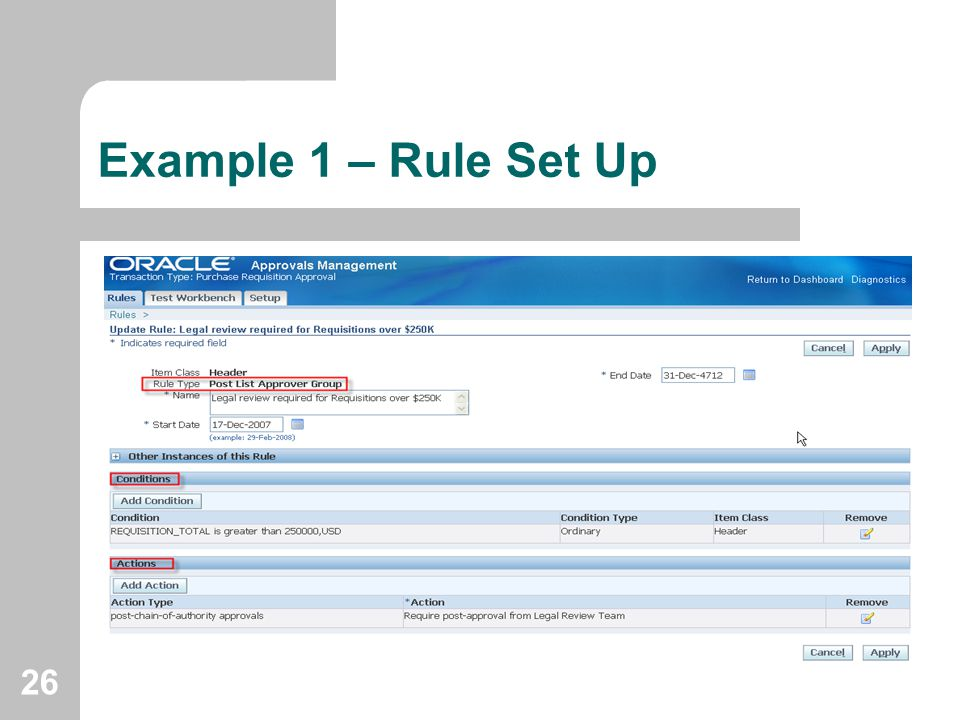 Example 1 – Rule Set Up