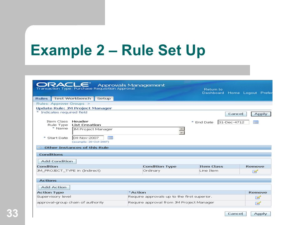 Example 2 – Rule Set Up