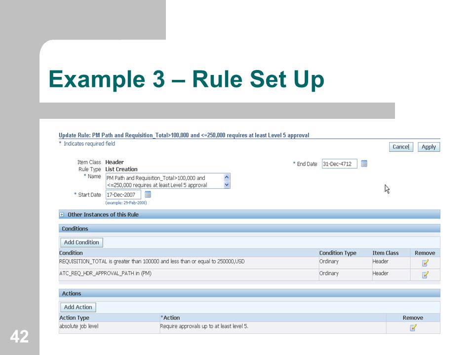 Example 3 – Rule Set Up