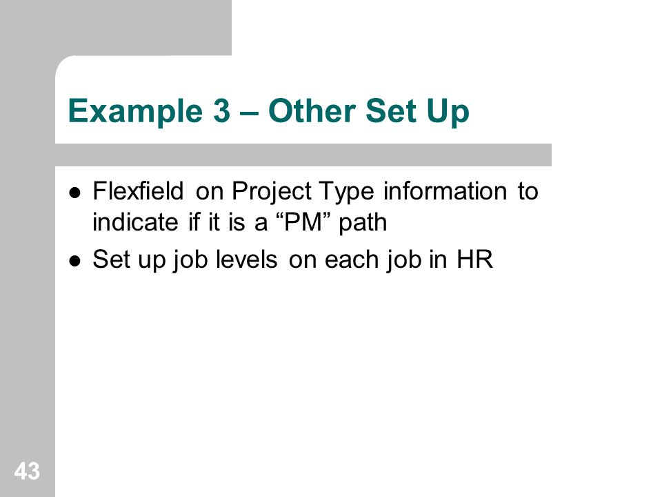 Example 3 – Other Set Up Flexfield on Project Type information to indicate if it is a PM path.