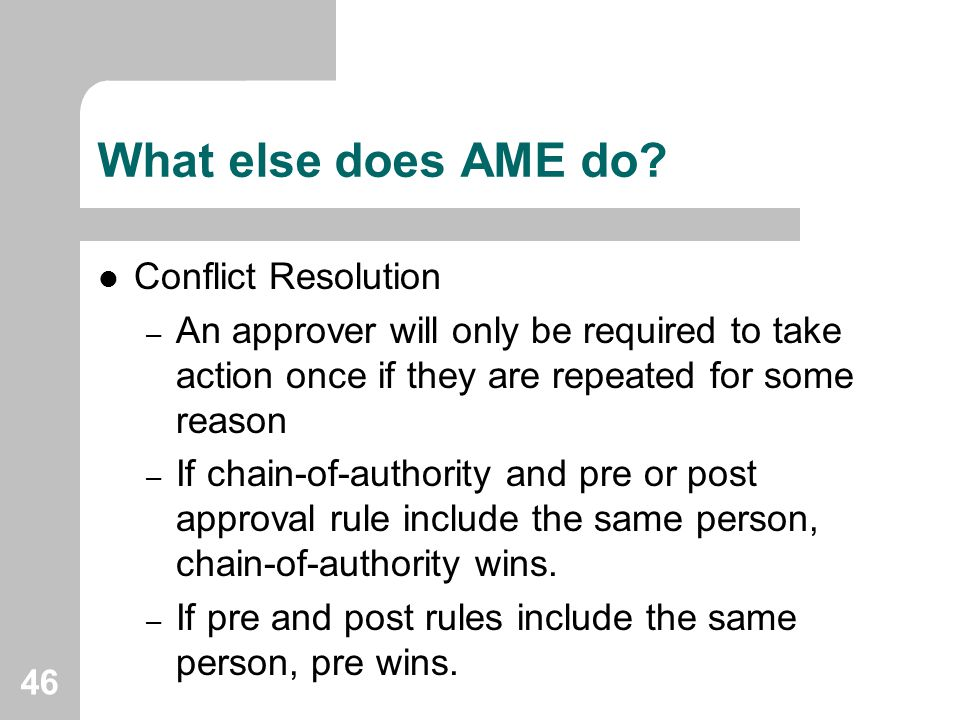 What else does AME do Conflict Resolution