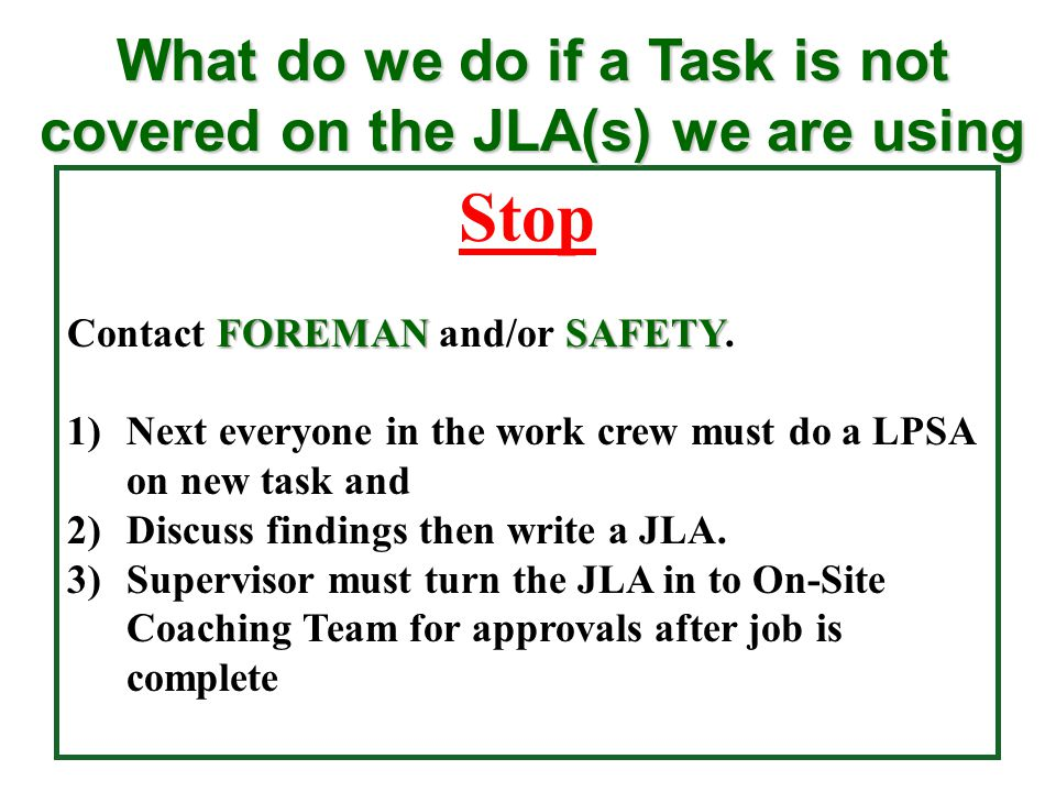 What do we do if a Task is not covered on the JLA(s) we are using