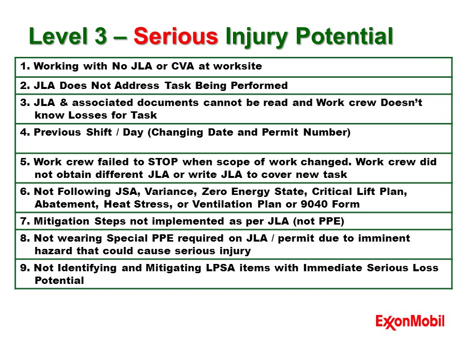Level 3 – Serious Injury Potential