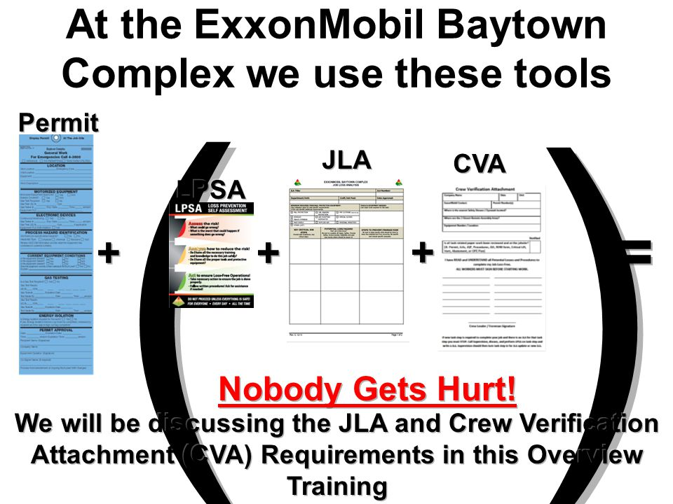 At the ExxonMobil Baytown Complex we use these tools