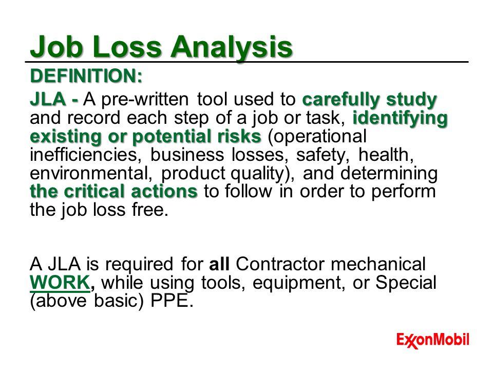 Job Loss Analysis DEFINITION: