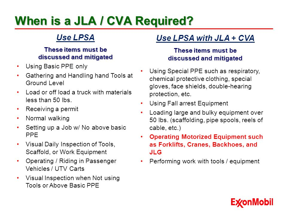 When is a JLA / CVA Required