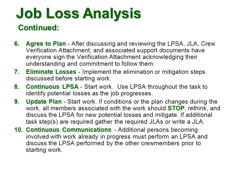 Job Loss Analysis Continued: