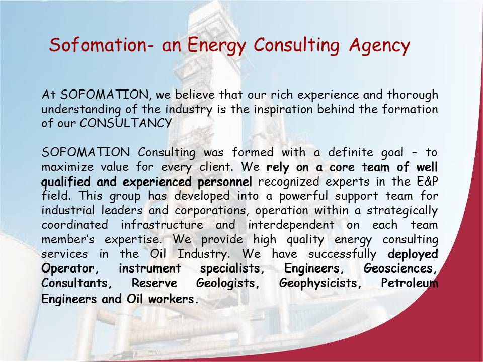 Sofomation- an Energy Consulting Agency
