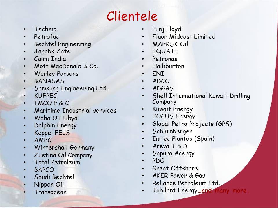 Clientele Technip Petrofac Bechtel Engineering Jacobs Zate Cairn India
