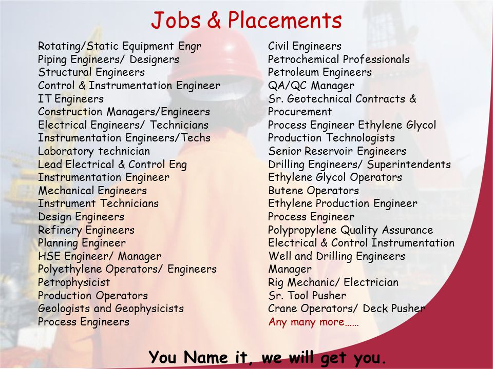 Jobs & Placements You Name it, we will get you.