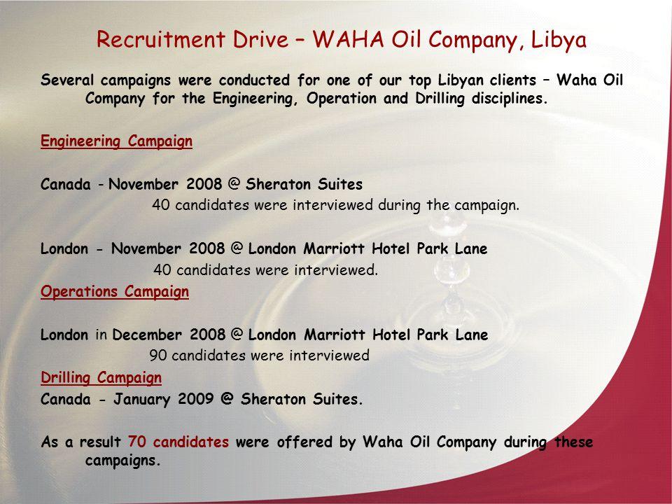 Recruitment Drive – WAHA Oil Company, Libya