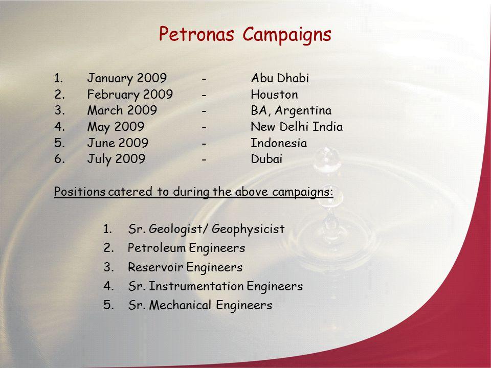 Petronas Campaigns January 2009 - Abu Dhabi February 2009 - Houston