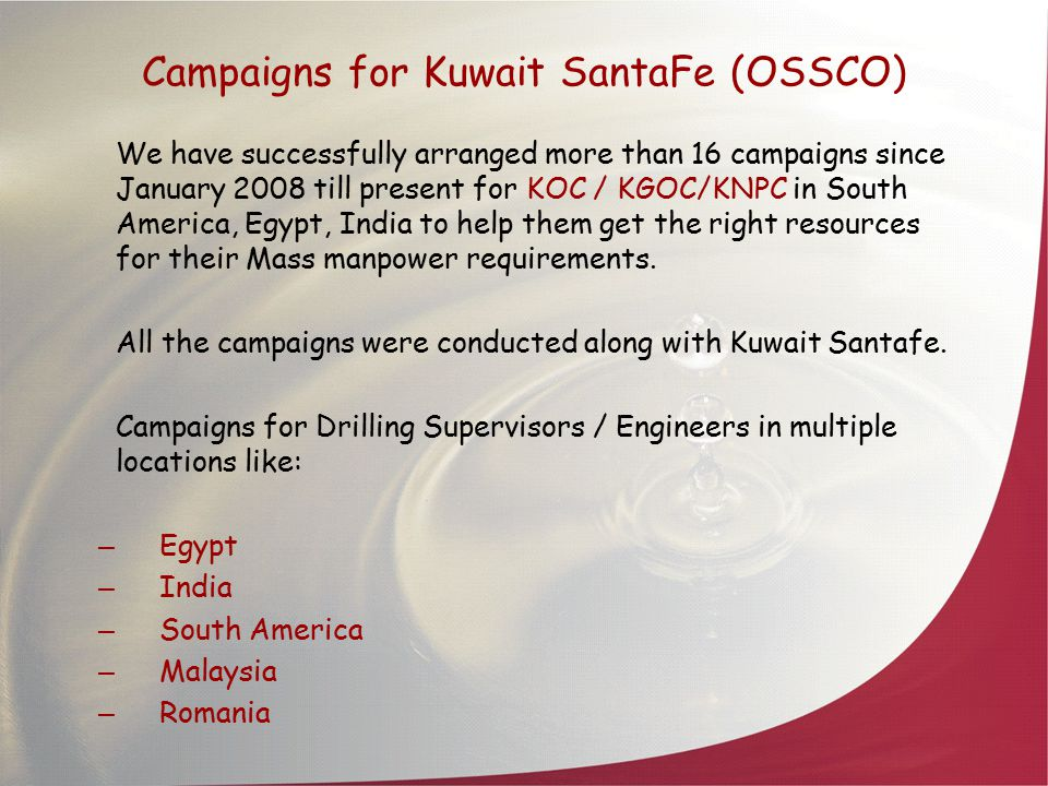 Campaigns for Kuwait SantaFe (OSSCO)