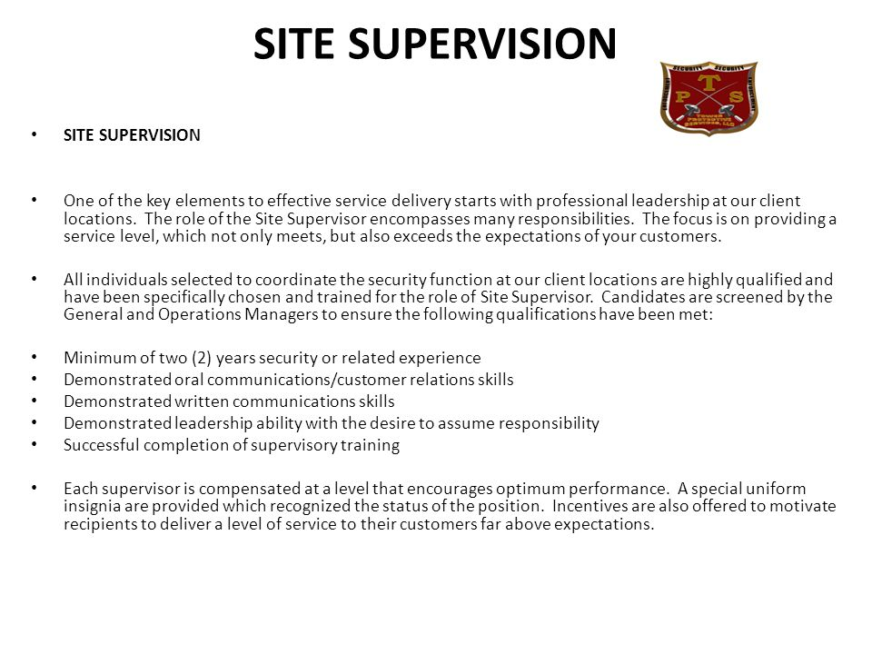 SITE SUPERVISION SITE SUPERVISION
