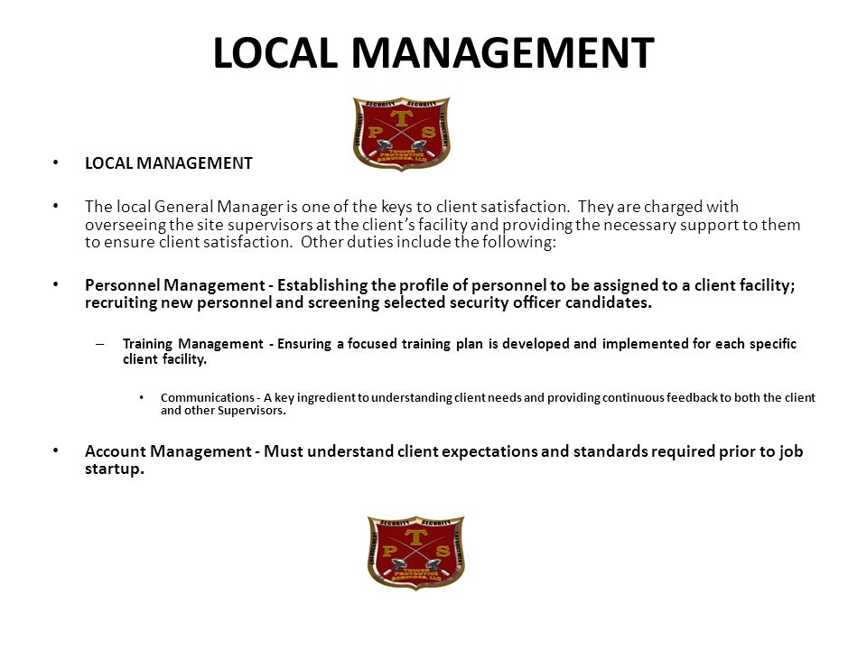 LOCAL MANAGEMENT LOCAL MANAGEMENT