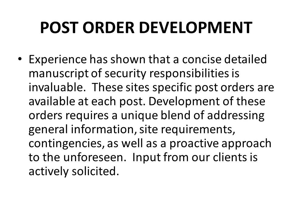 POST ORDER DEVELOPMENT