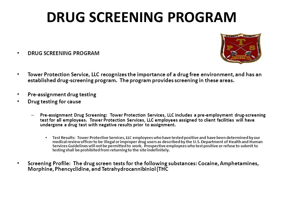 DRUG SCREENING PROGRAM